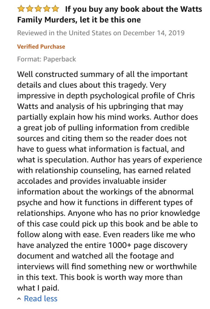 Lena Derhally Review, Chris Watts Book, Best Seller
